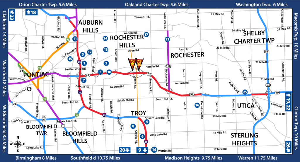 Map of the surrounding area around International Outdoor's Rochester Hills Billboards.